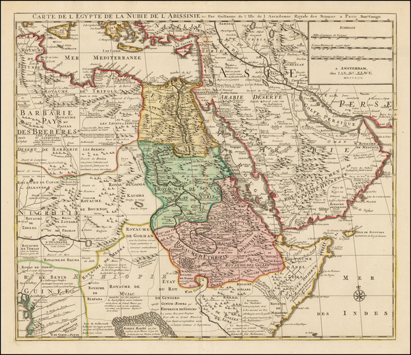 Middle East, Egypt and East Africa Map By Jan Barend Elwe