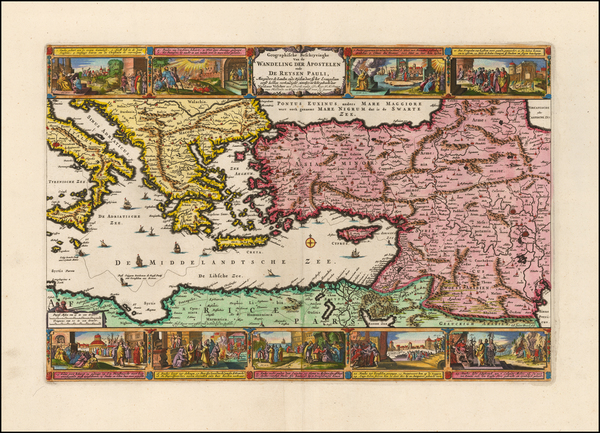 37-Greece, Mediterranean, Holy Land and Turkey & Asia Minor Map By Nicolaes Visscher I