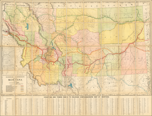 80-Montana Map By Rand McNally & Company / Montana Railroad Commission