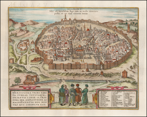 17-Holy Land and Jerusalem Map By Georg Braun  &  Frans Hogenberg