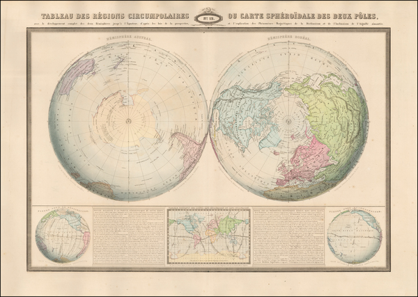 48-World, Northern Hemisphere, Southern Hemisphere and Polar Maps Map By F.A. Garnier