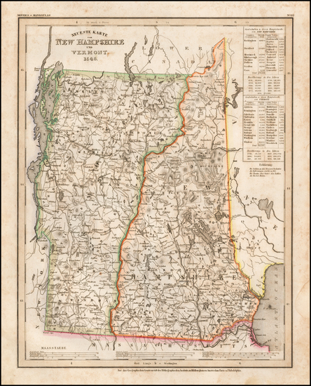 87-New Hampshire and Vermont Map By Joseph Meyer