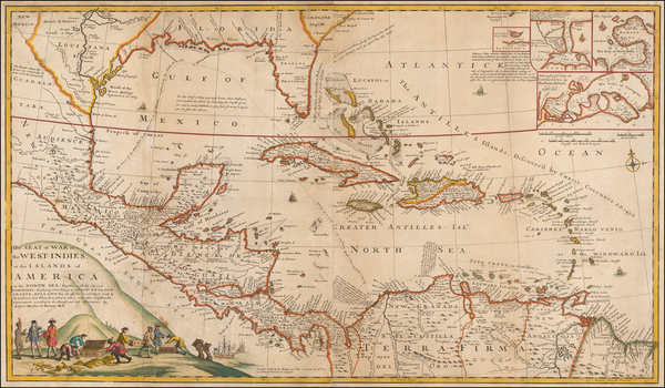 96-Florida, South, Southeast, Mexico, Caribbean, Central America and Colombia Map By Herman Moll