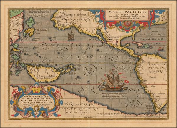 67-Western Hemisphere, Polar Maps, Japan, Pacific, Australia and America Map By Abraham Ortelius
