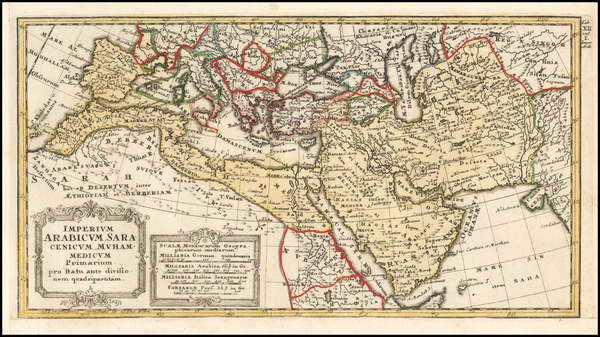 94-Mediterranean, Middle East, Arabian Peninsula, Persia and North Africa Map By Johann Matthaus H