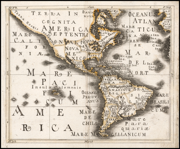 90-North America, South America and America Map By Franz Wagner