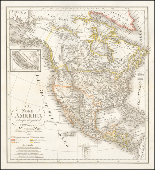 89-North America Map By Carl Ferdinand Weiland