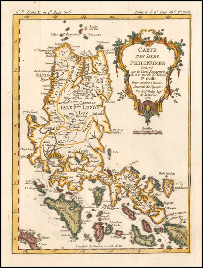74-Philippines Map By Jacques Nicolas Bellin