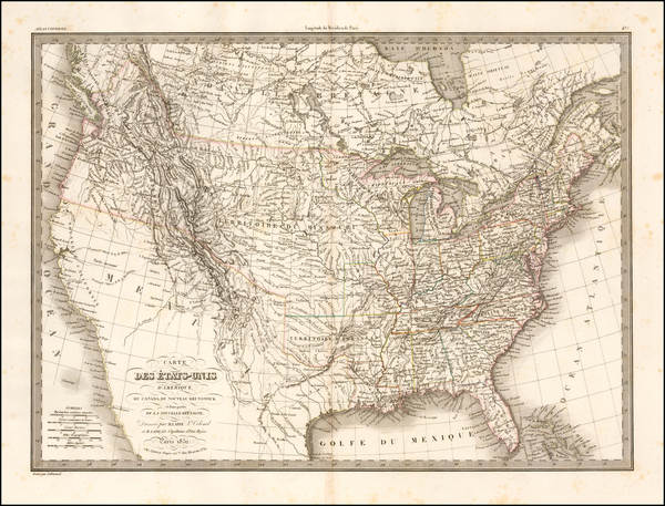 64-United States Map By Alexandre Emile Lapie