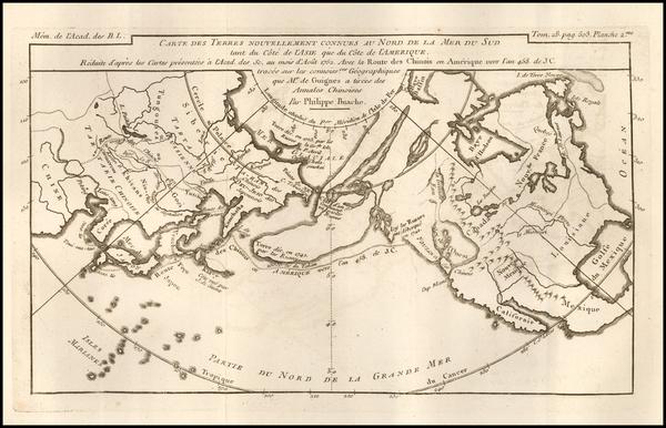 37-Polar Maps, Alaska, North America and Canada Map By Philippe Buache