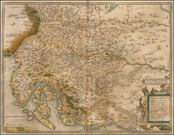 Croatia & Slovenia and Bosnia & Herzegovina Map By Abraham Ortelius