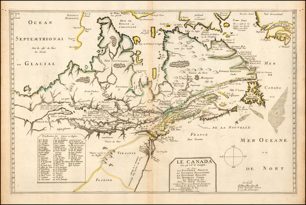 100-New England, Mid-Atlantic, Midwest, Canada and Eastern Canada Map By Pierre Du Val