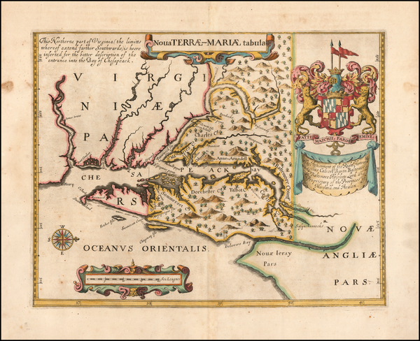 Mid-Atlantic, Maryland, Delaware and Virginia Map By John Ogilby