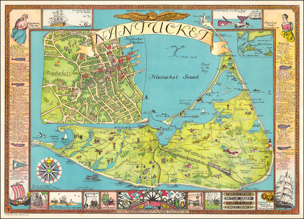 97-Massachusetts and Pictorial Maps Map By George C. Miller & Son / Ruth Haviland Sutton