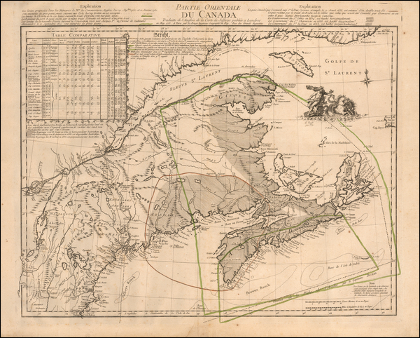 39-New England, Canada and Eastern Canada Map By Georges Louis Le Rouge