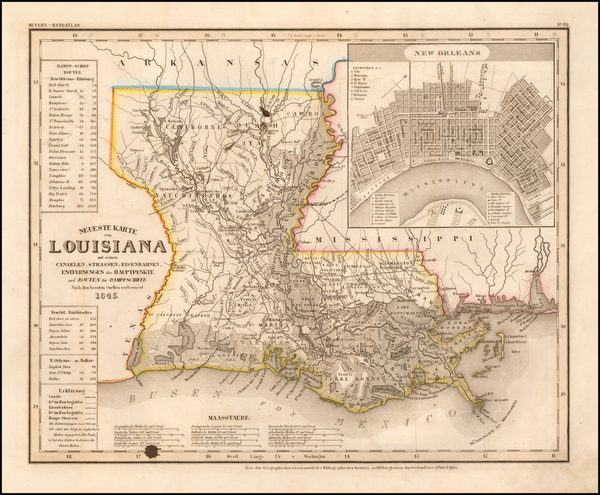 78-Louisiana Map By Joseph Meyer  &  Carl Radefeld