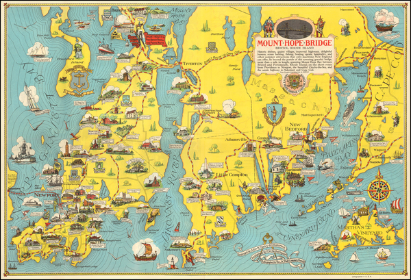 16-Massachusetts, Rhode Island and Pictorial Maps Map By H.W. Hetherington