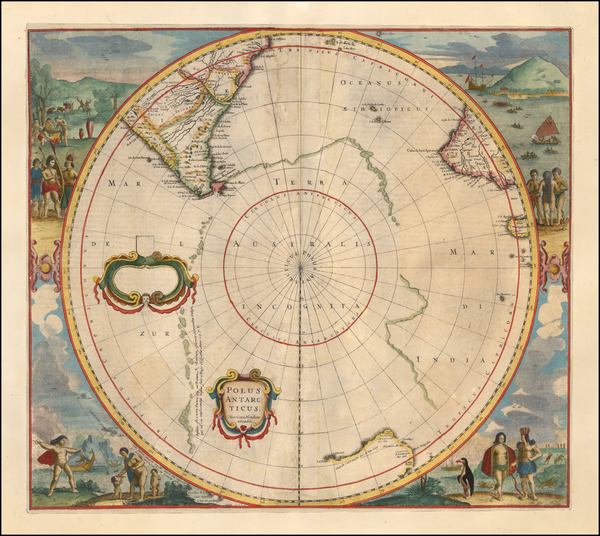 100-Polar Maps and New Zealand Map By Henricus Hondius