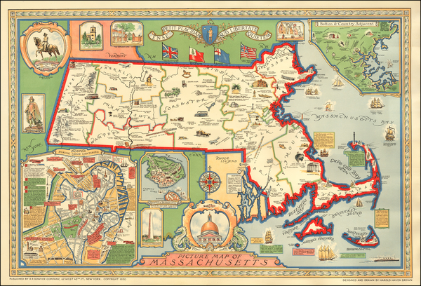 Massachusetts Map By Harold Haven Brown