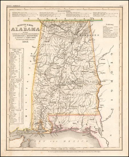 54-Alabama Map By Joseph Meyer  &  Carl Radefeld