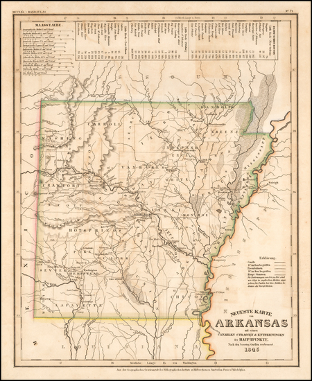 91-Arkansas Map By Joseph Meyer  &  Carl Radefeld