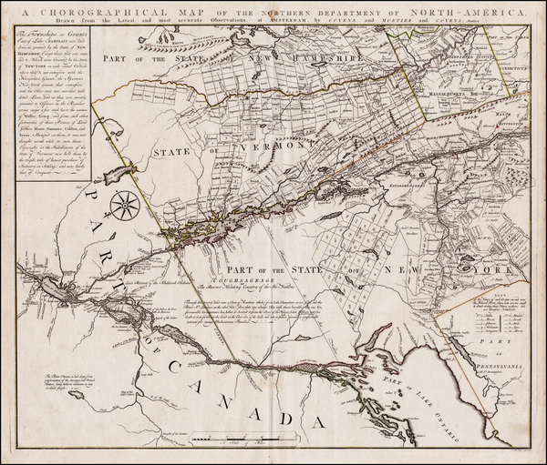 43-New England, Massachusetts, New Hampshire, Vermont, New York State and Canada Map By Bernard Ro
