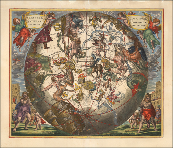 12-Western Hemisphere, Southern Hemisphere and Celestial Maps Map By Andreas Cellarius
