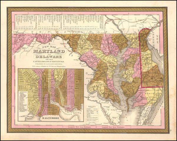 17-Maryland Map By Samuel Augustus Mitchell