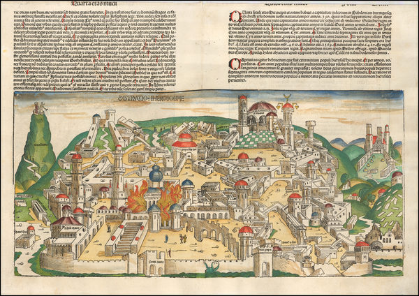 14-Holy Land and Jerusalem Map By Hartmann Schedel