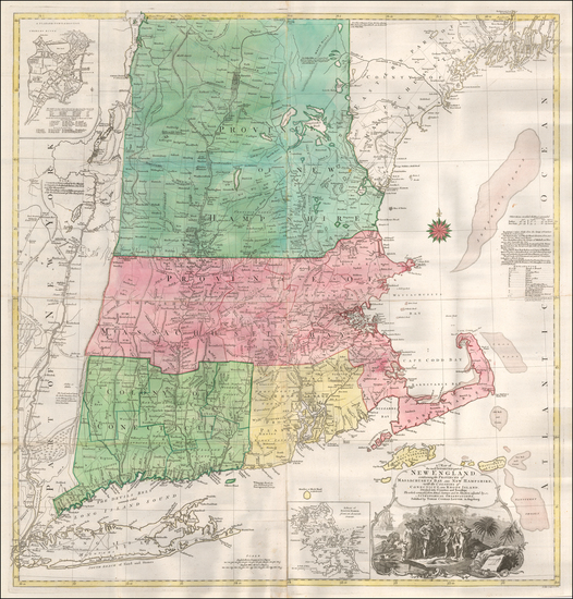 48-New England, Boston and American Revolution Map By Tobias Conrad Lotter / Bradock Mead