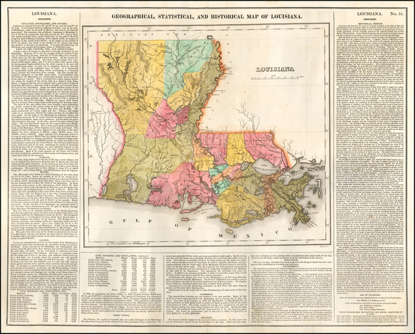 90-Louisiana Map By Henry Charles Carey  &  Isaac Lea