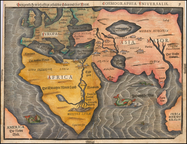 50-World, Eastern Hemisphere, Europe, Asia, Africa and Australia Map By Heinrich Bunting