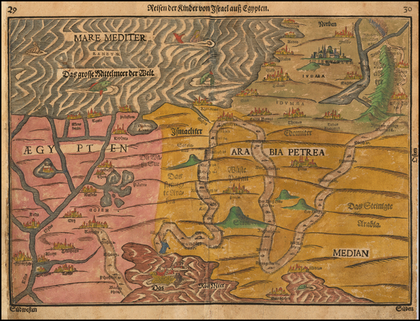 57-Holy Land and Egypt Map By Heinrich Bunting