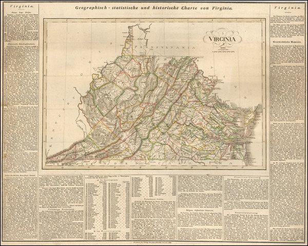 64-Virginia Map By Carl Ferdinand Weiland
