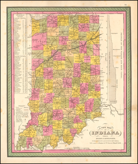 32-Indiana Map By Samuel Augustus Mitchell