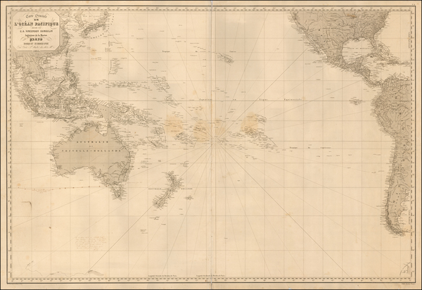 30-Pacific Ocean, Pacific and Australia Map By Aime Robiquet