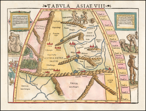 17-India, Central Asia & Caucasus and Curiosities Map By Sebastian Munster