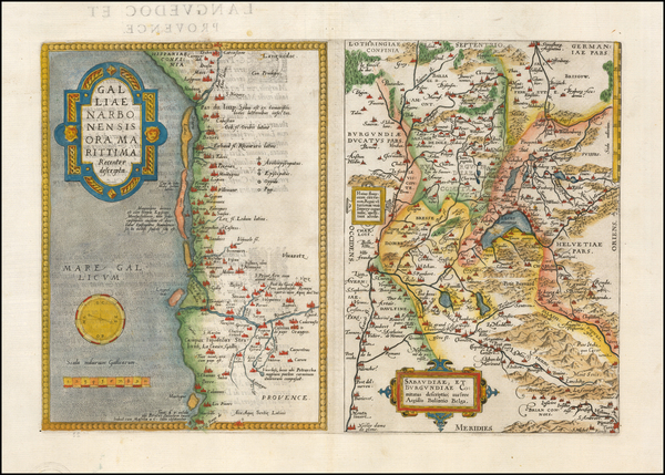 91-Switzerland and France Map By Abraham Ortelius