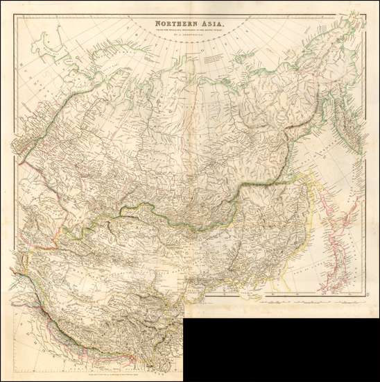 China, India & Sri Lanka, Central Asia & Caucasus and Russia in Asia Map By John Arrowsmith
