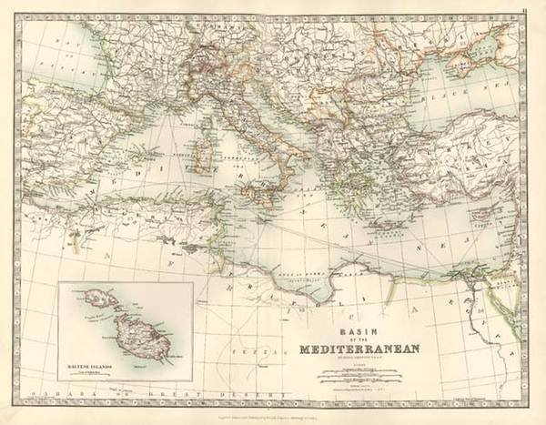 35-Europe, Italy, Greece, Mediterranean and Balearic Islands Map By W. & A.K. Johnston