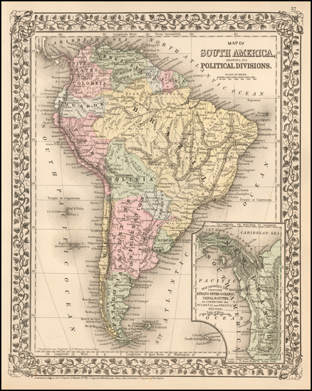 9-Central America and South America Map By Samuel Augustus Mitchell Jr.