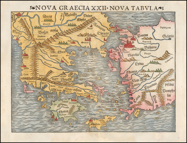Greece, Turkey and Turkey & Asia Minor Map By Sebastian Münster