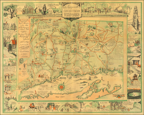 78-Connecticut and Pictorial Maps Map By
