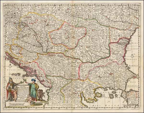 79-Hungary, Romania, Balkans, Croatia & Slovenia and Bulgaria Map By Frederick De Wit