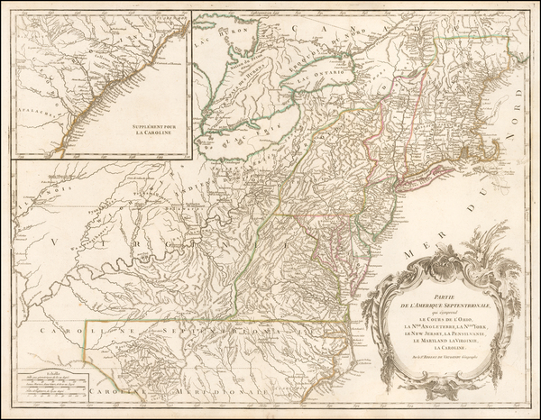 21-New England, New York State, Mid-Atlantic and Southeast Map By Didier Robert de Vaugondy