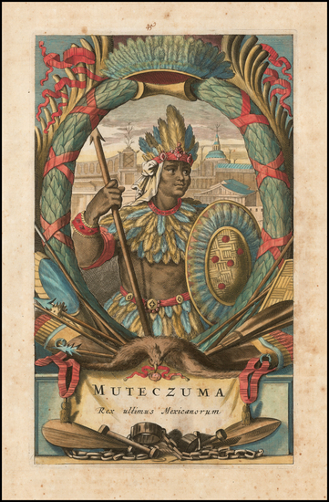 74-Mexico and Portraits & People Map By John Ogilby