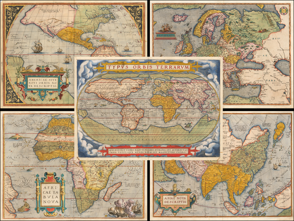 13-World, South America, Europe, Europe, Asia, Africa and America Map By Abraham Ortelius