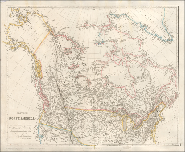 Plains, Rocky Mountains, Alaska and Canada Map By John Arrowsmith