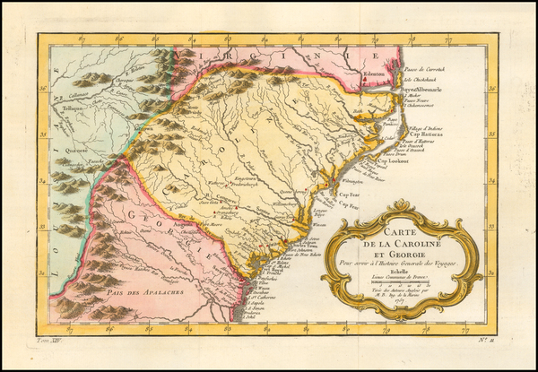27-Southeast, Georgia, North Carolina and South Carolina Map By Jacques Nicolas Bellin