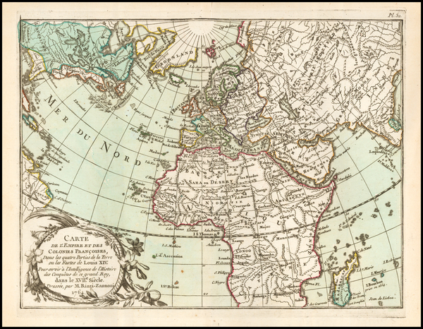 United States, Canada, Europe, India, Middle East and Africa Map By Giovanni Antonio Rizzi-Zannoni